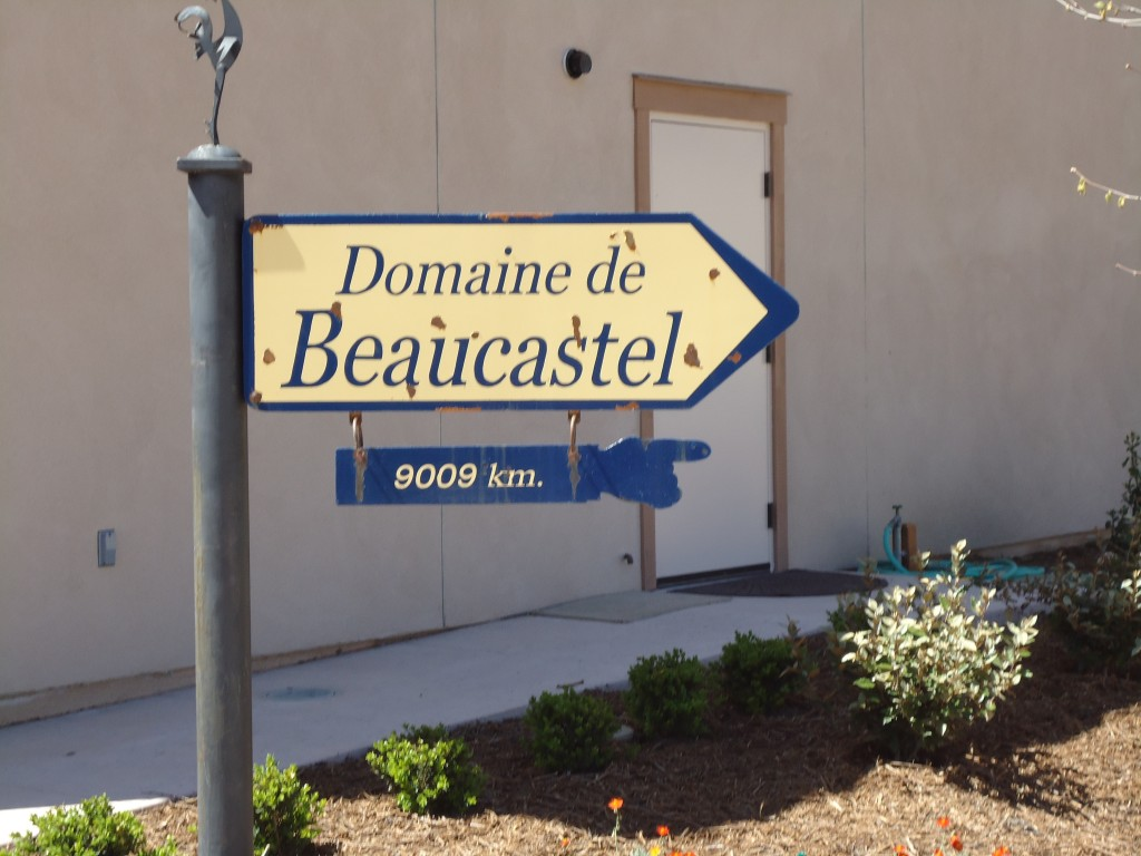 Sign post outside Tablas Creek Winery to their sister property in Chateau Neuf du Pape