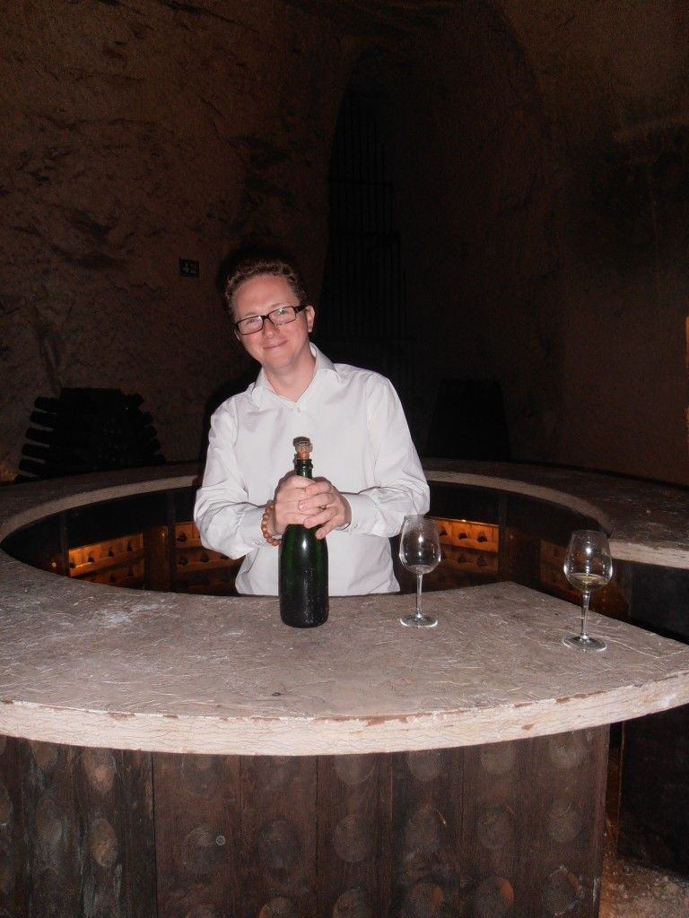 Christian Holthausen opening Charles Heidsieck 1983 Blanc des Millénaires in the Piper Heidsieck Crayeres