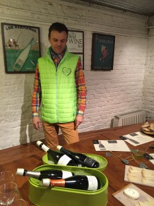 Marc Augustin at Dvine Cellars introducing his bioenergetic Champagnes to UK press